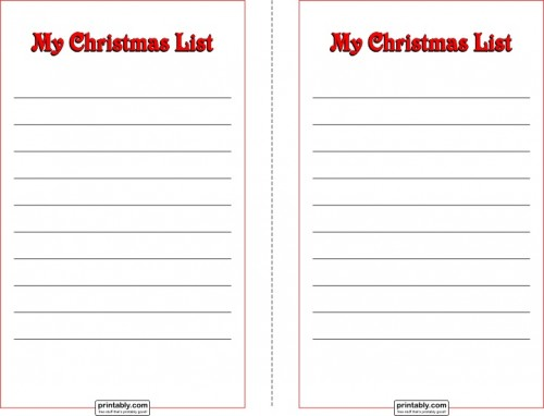 Download My Christmas List Half Page (PDF)  Christmas Wish List Printable
