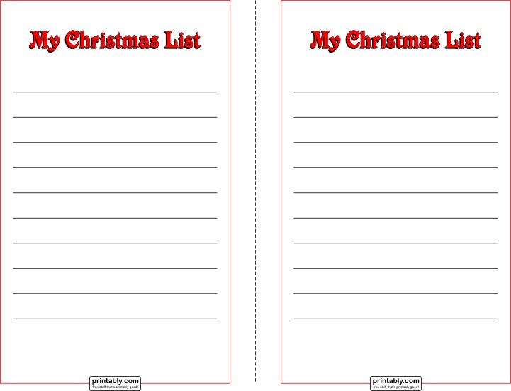 My Christmas List Half Page