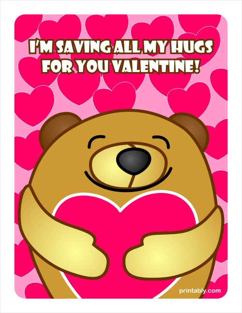 Bear Hugging a Heart Valentines Day Cards – Bear Valentines Card